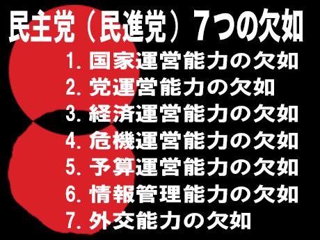 民進党とその議員は「7つの欠如」で国家を破壊する存在だ